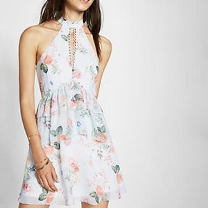 Express | Floral Print Tiered Fit And Flare Dress